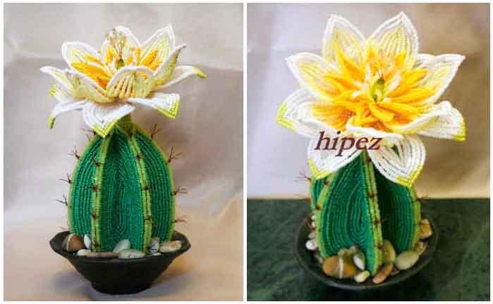 цветы из бисера французская техника кактус