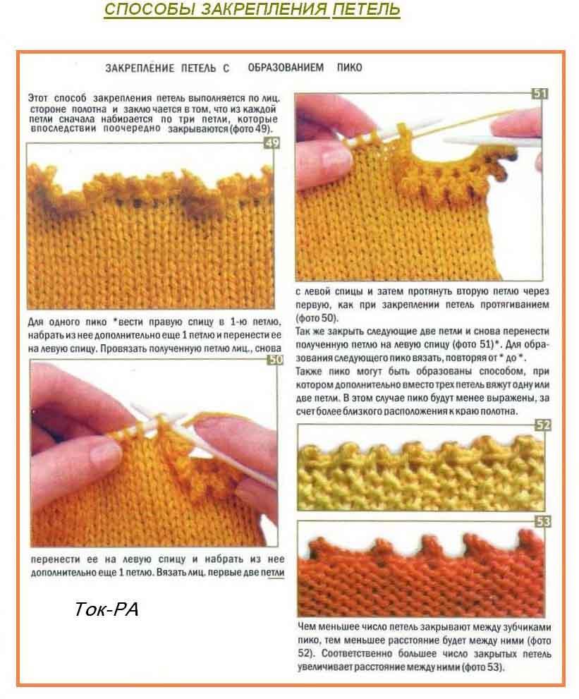 декоративное закрытие петель в вязании спицами