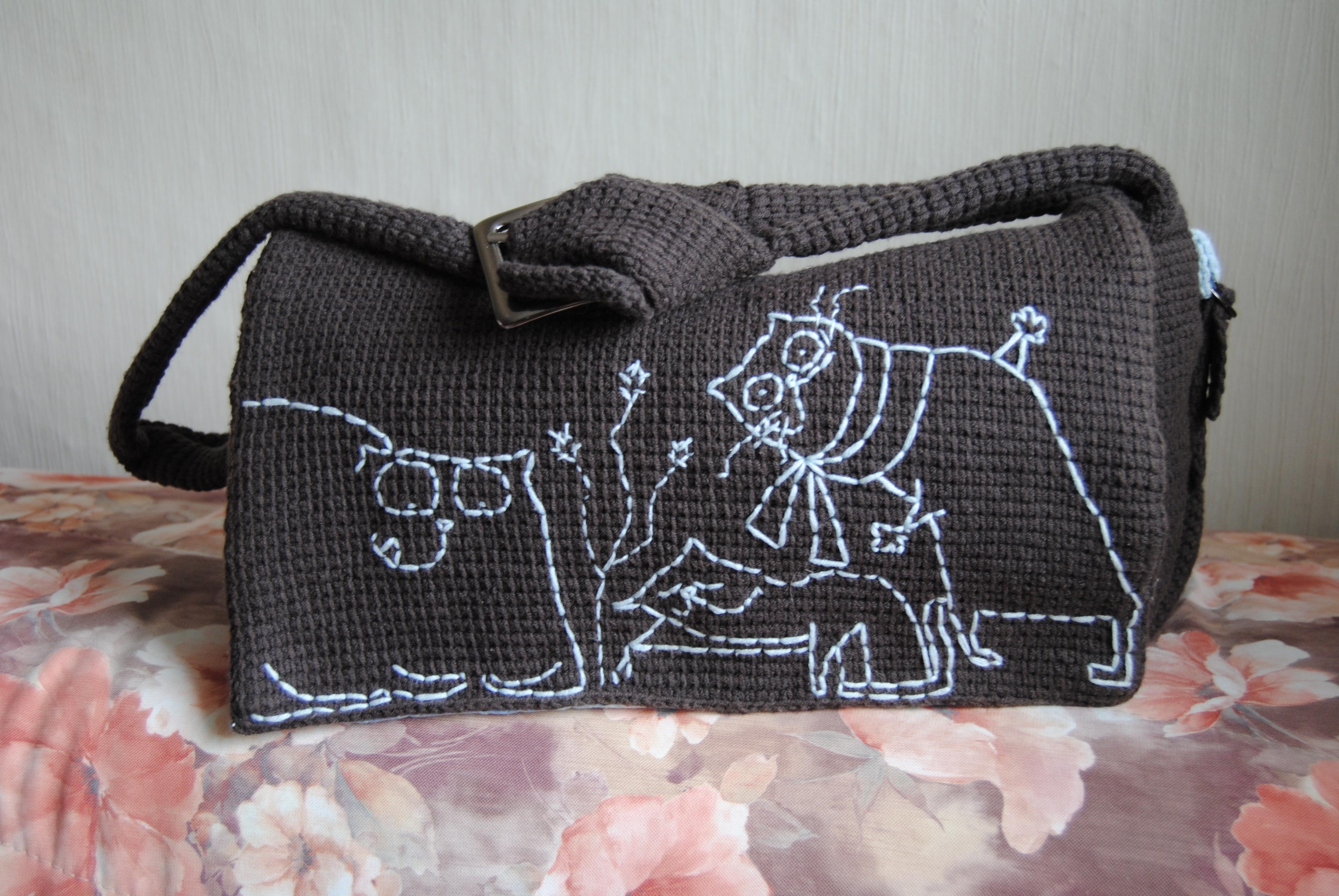 Сумка спицами с кошками. Схемы вязания