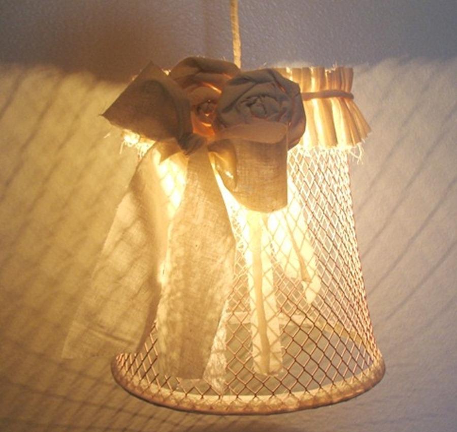 Декорирование люстры джутом и мешковиной