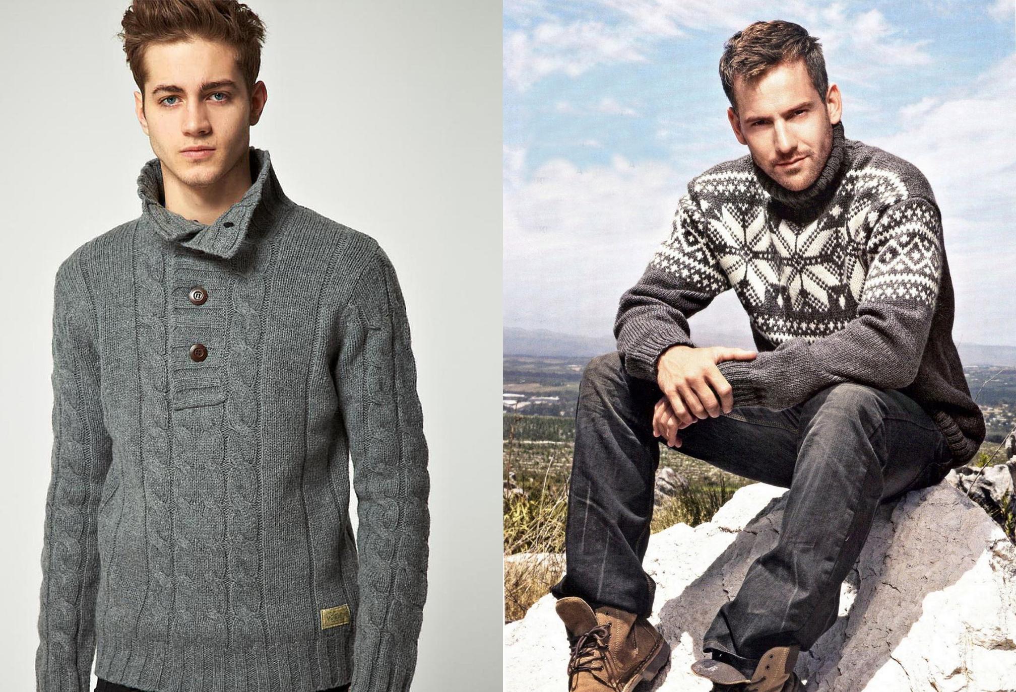 Вязание для мужчин. Теплый зимний свитер спицами