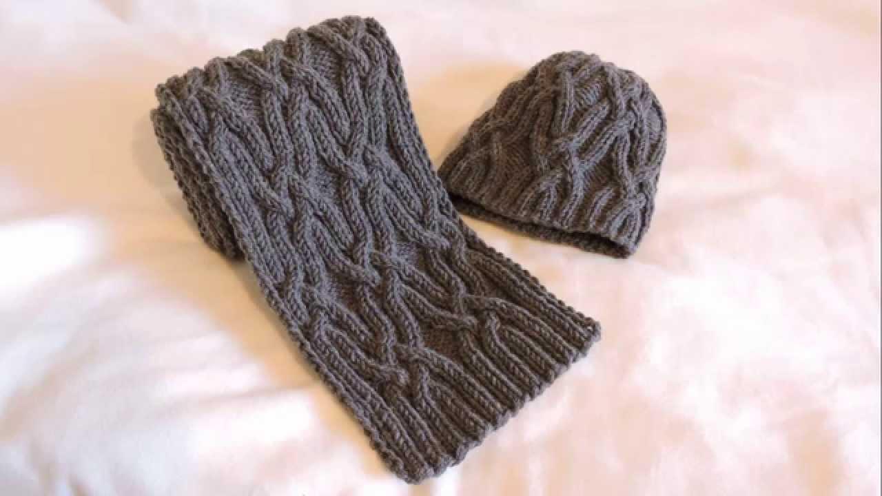 Мужская шапочка и шарф крючком. Описание вязания