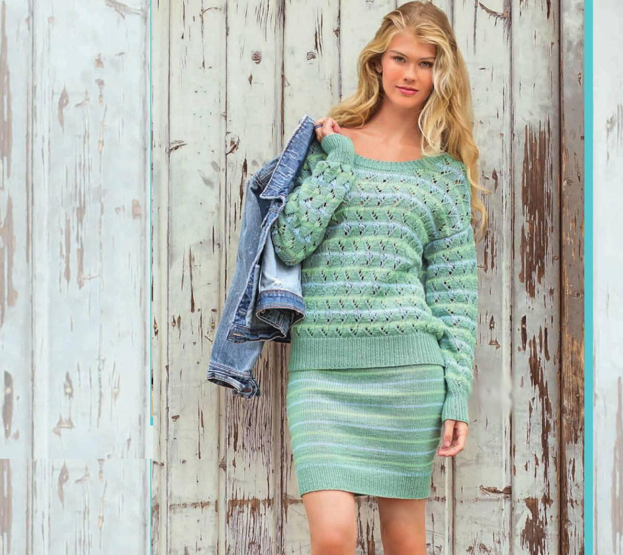 Комплект пуловер и юбка спицами