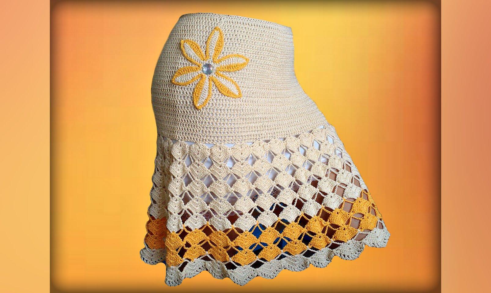 Длинная юбка крючком узором ракушка