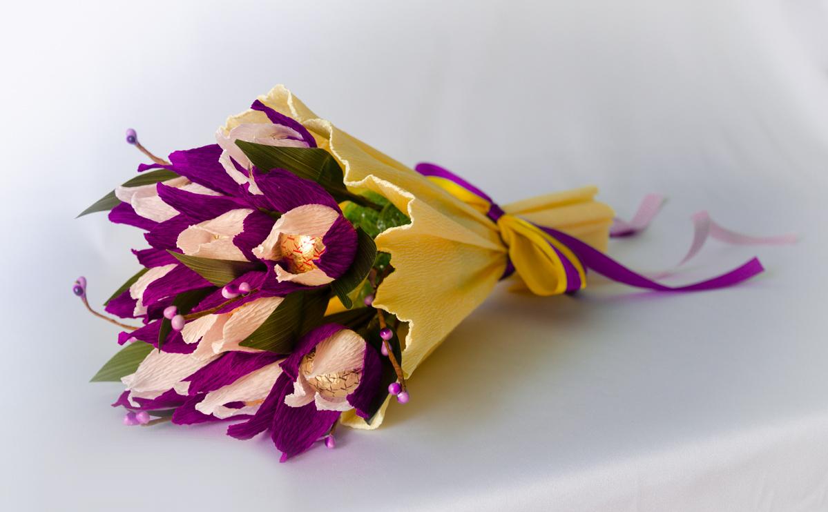 Букет из конфет с тюльпанами. Мастер-класс