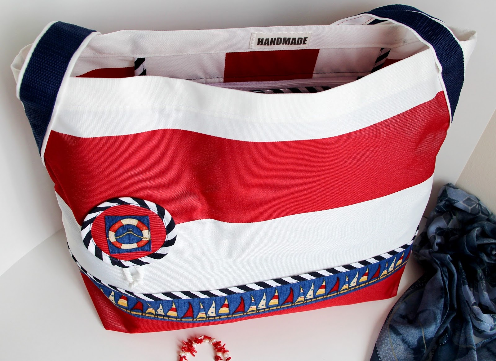 Пляжная полосатая сумка. Мастер-класс по пошиву