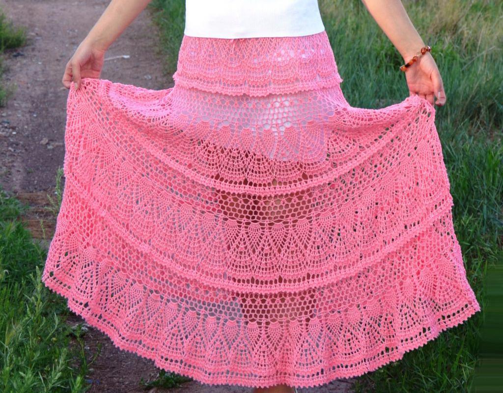 Длинная розовая юбка крючком. Схемы