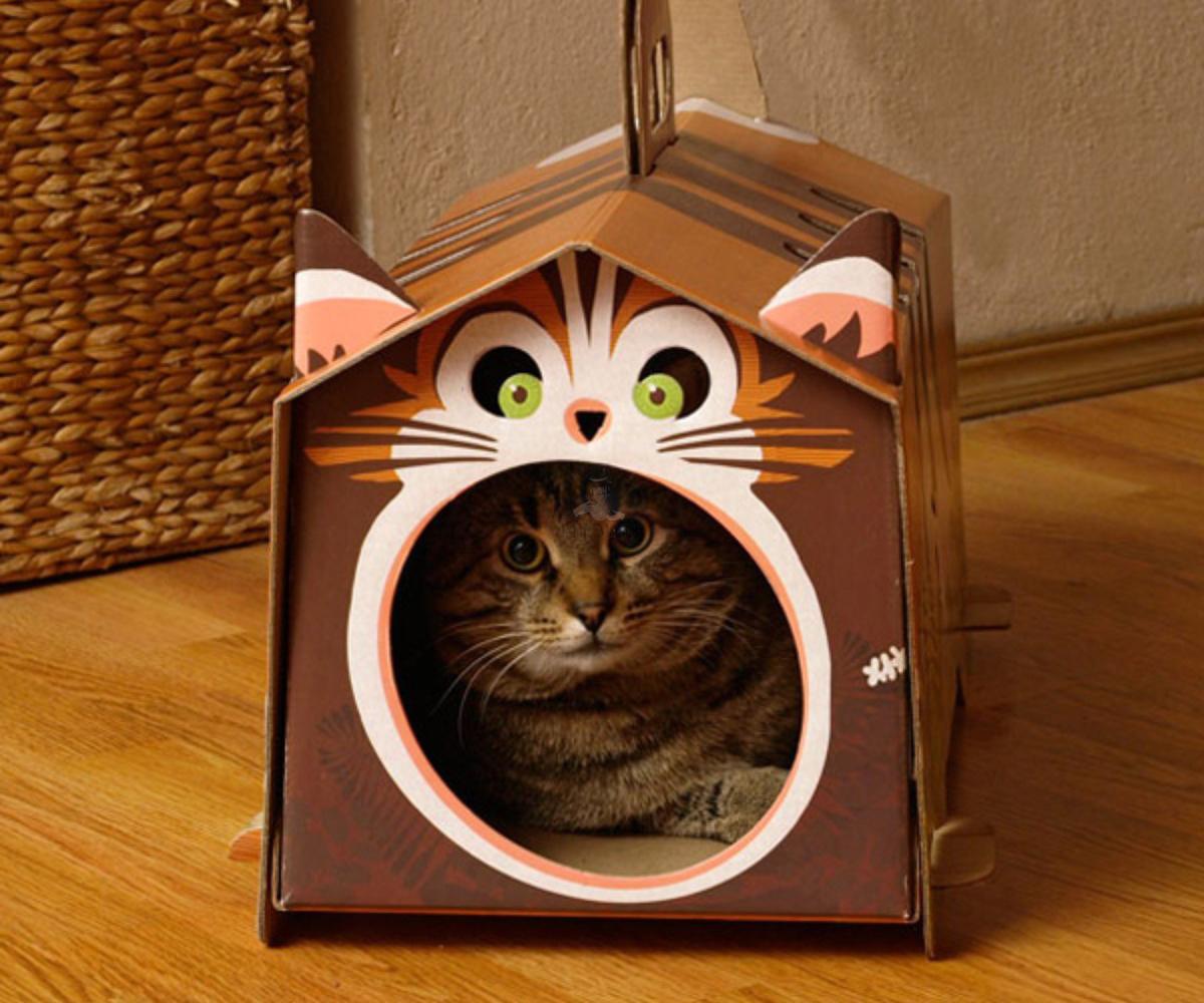 Кошкин домик из картона. Мастер-класс