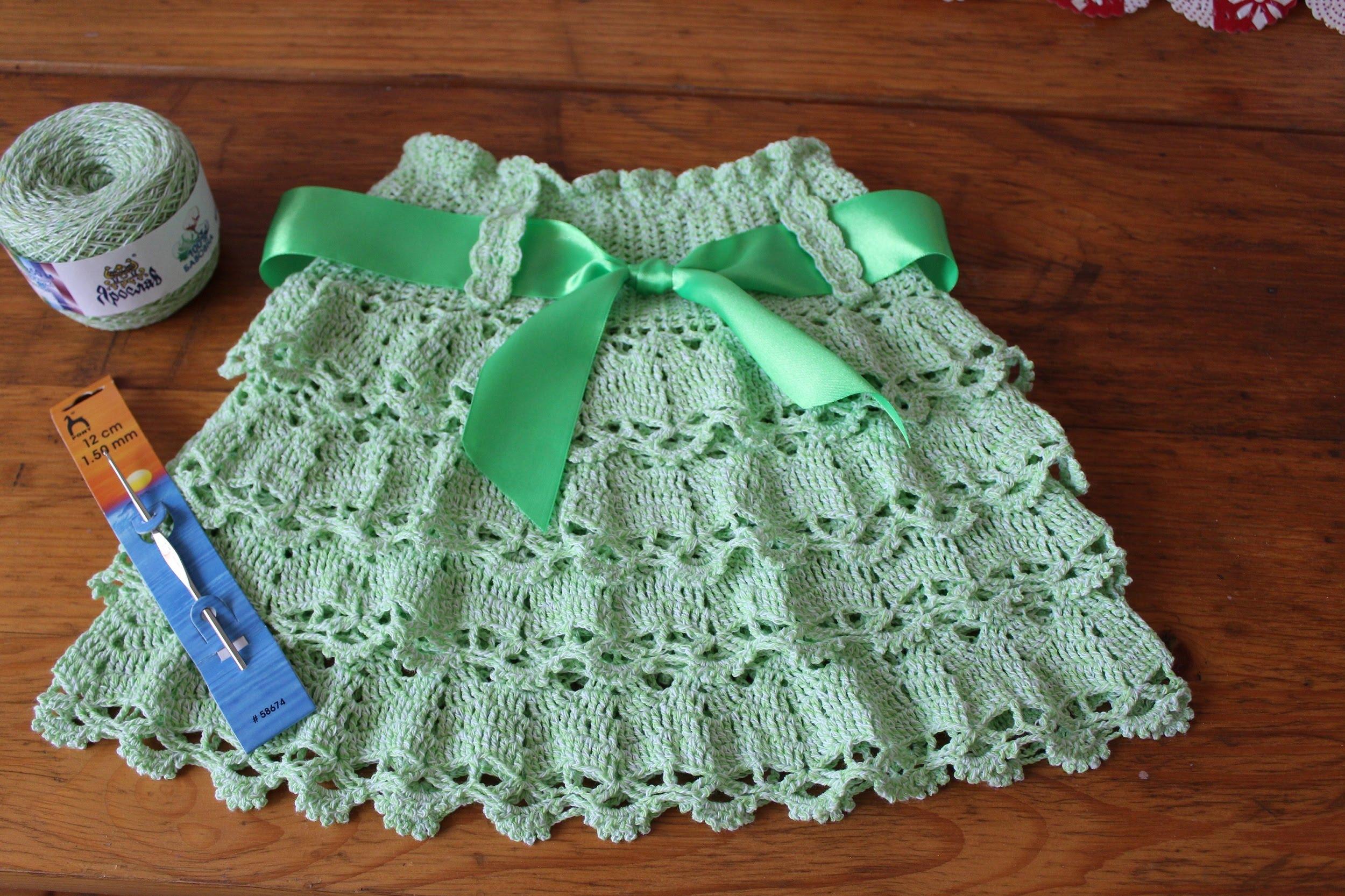 Вязание кружевной летней юбки крючком. Схемы