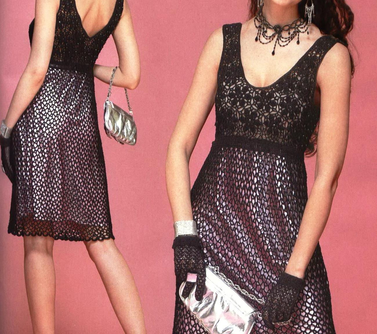 Стильное летнее черное платье крючком