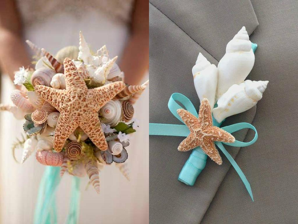 Как сделать свадебный букет с ракушками своими руками