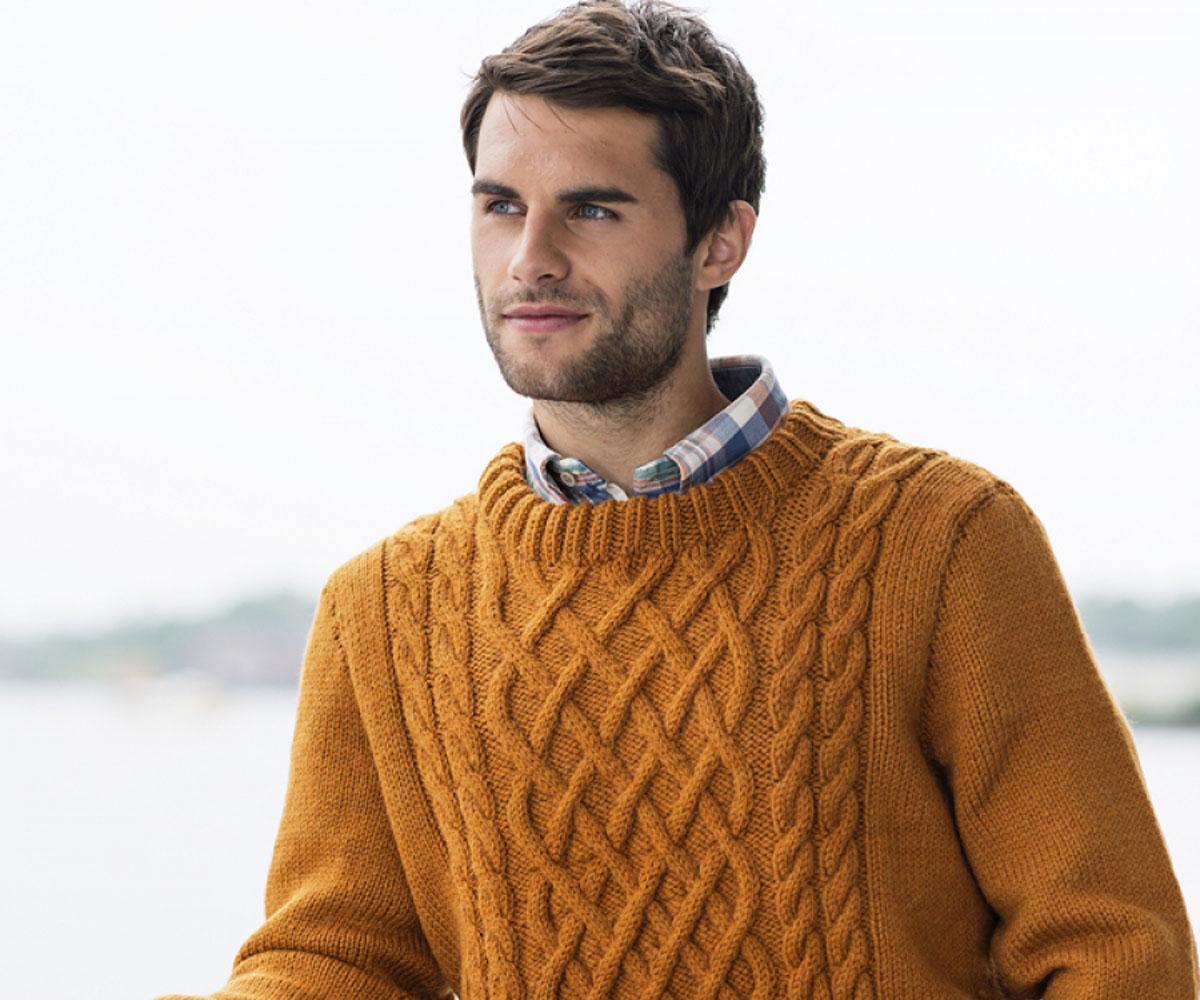 Мужской пуловер спицами D&G