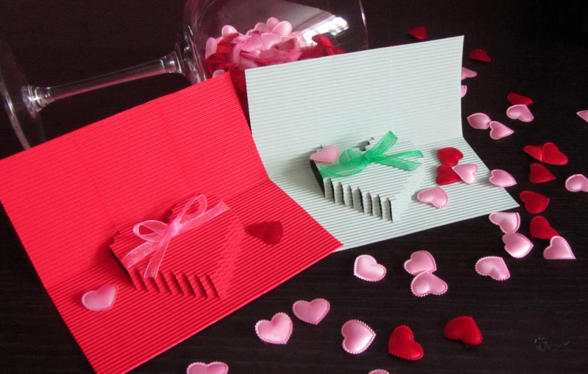 Объёмная открытка сердце с розой