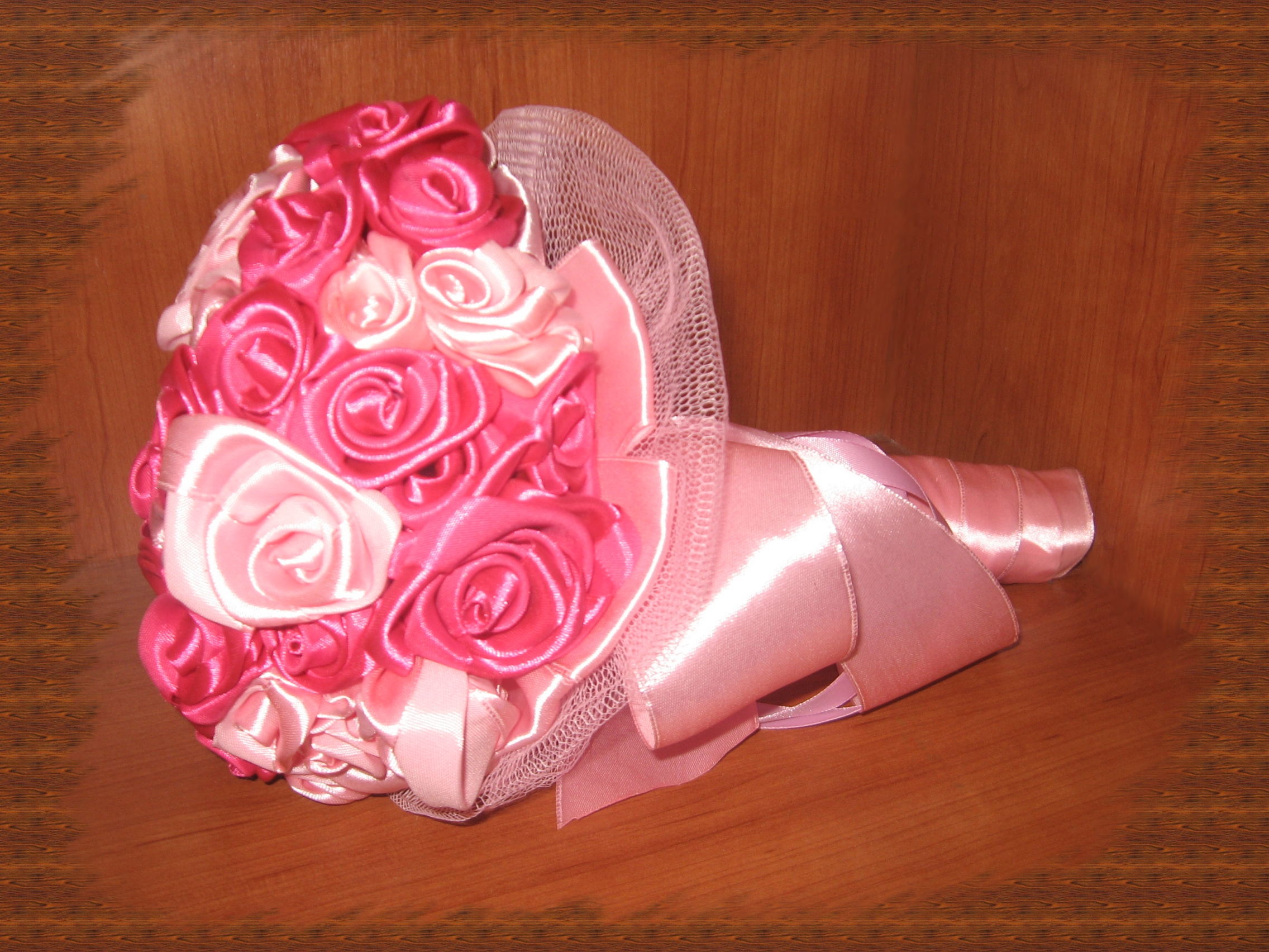 Свадебный букет в розовых тонах своими руками