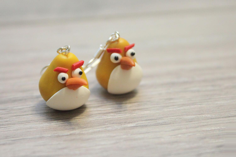 Сережки из полимерной глины Angry Birds