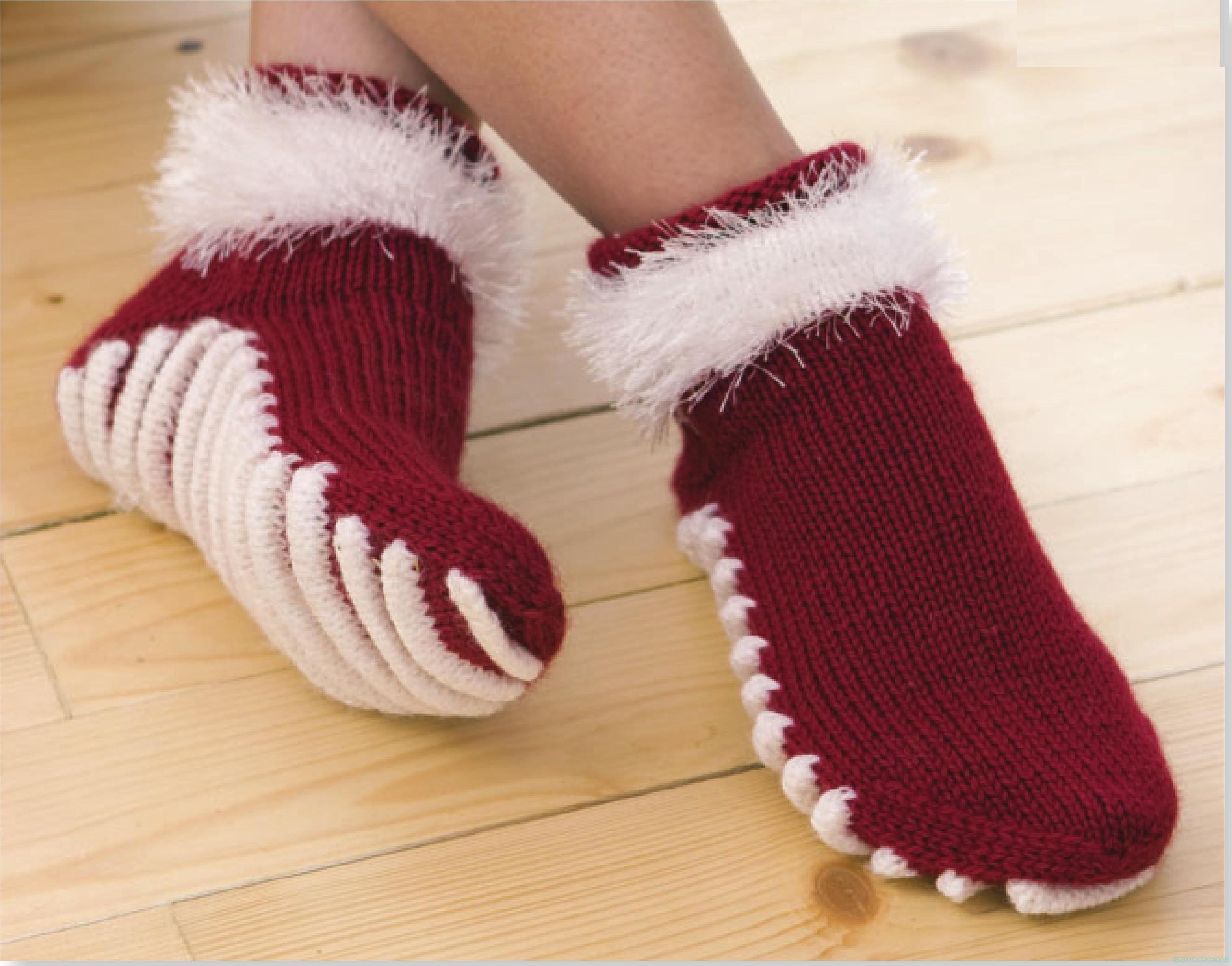 Тапки-носки или носки с подошвой. Вяжем спицами