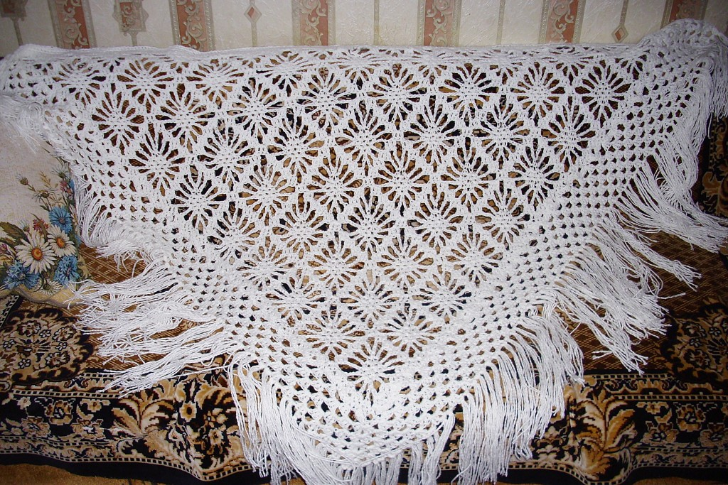 Вязание крючком шали. Схемы и описания