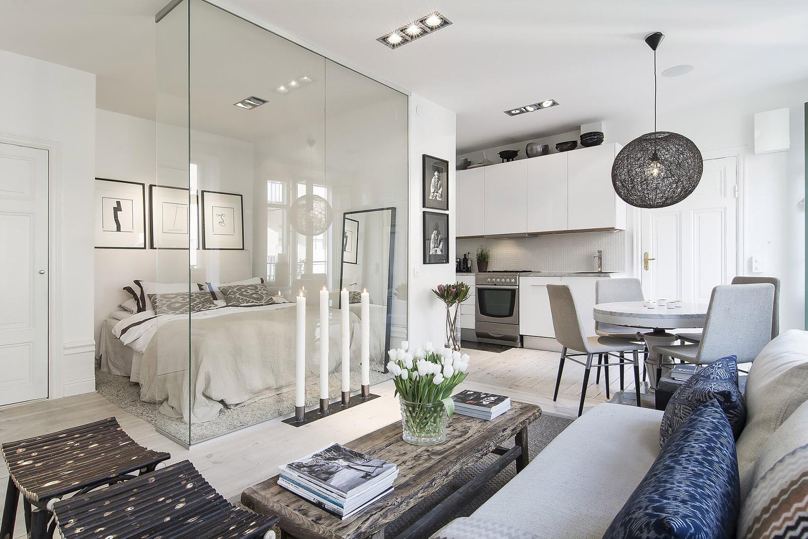 Дизайн интерьера квартиры в Швеции 34 кв.м