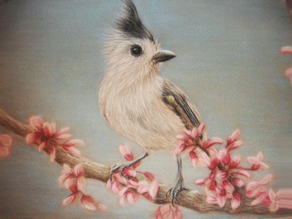 Весенняя роспись комода для детской комнаты. Птички на ветке