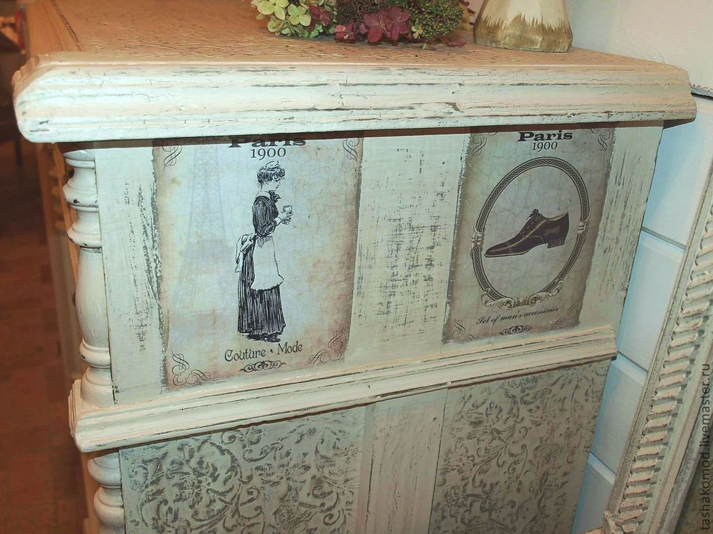 Реставрация старого комода в винтажном стиле. Перенос изображения