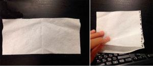 Складываем ткань точно так же, как салфетку