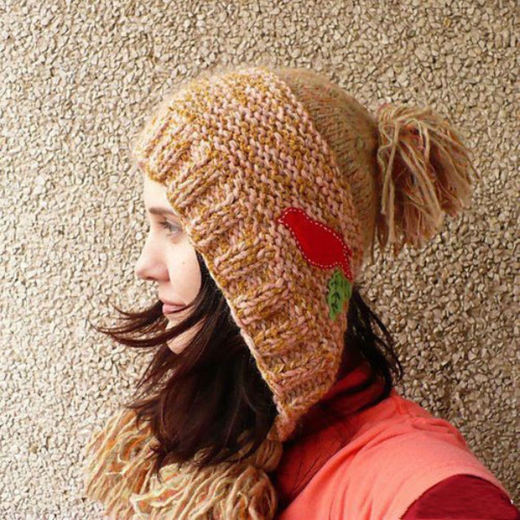 Шапка капор для женщины спицами