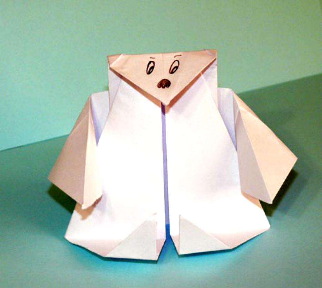 Белый медведь из бумаги для дошкольника