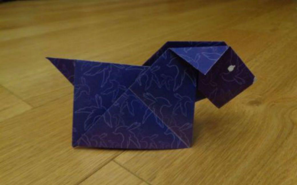 Оригами-собака из бумаги — креативная поделка для детей