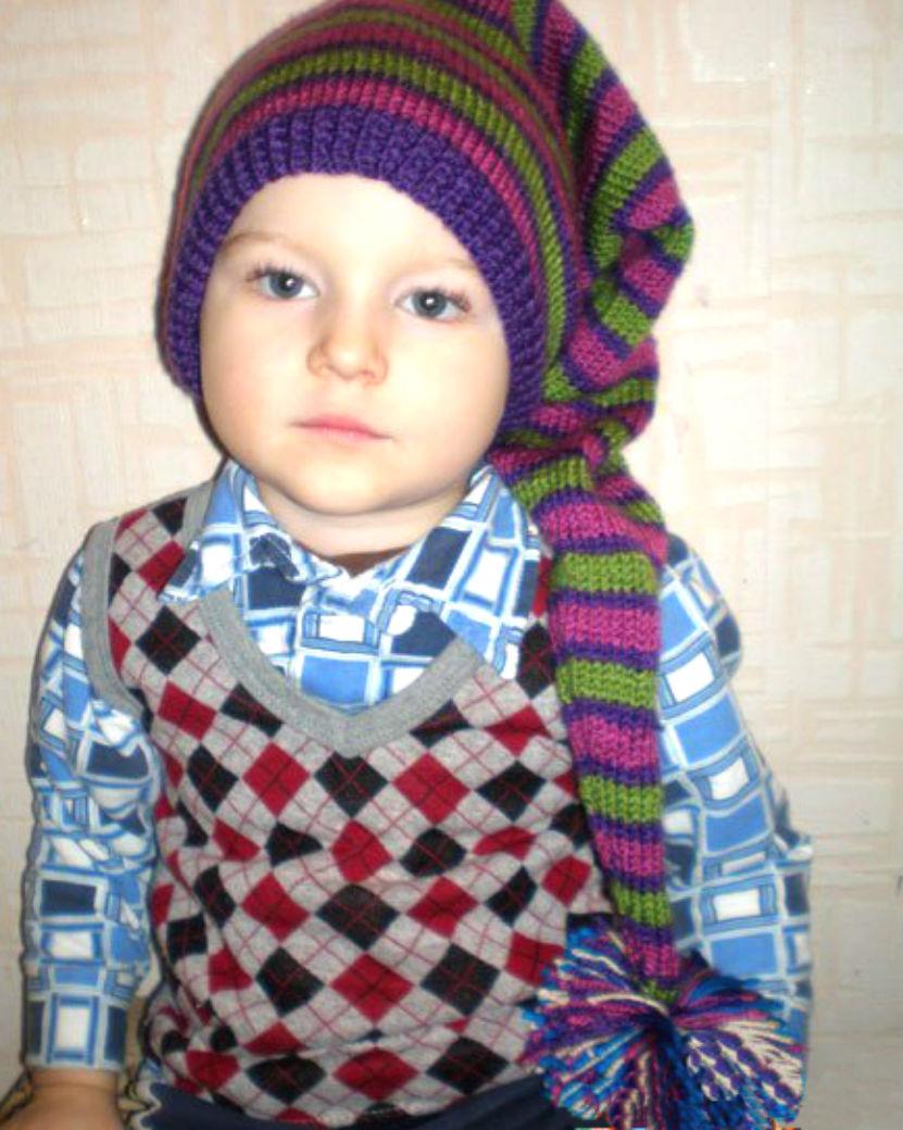 Детская шапка-колпак спицами