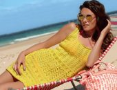 Вязаная пляжная туника желтого цвета