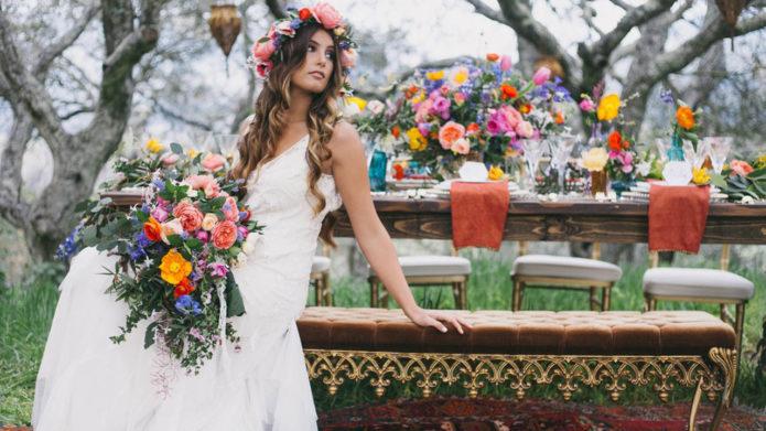 Наряд и букет невесты в стиле бохо