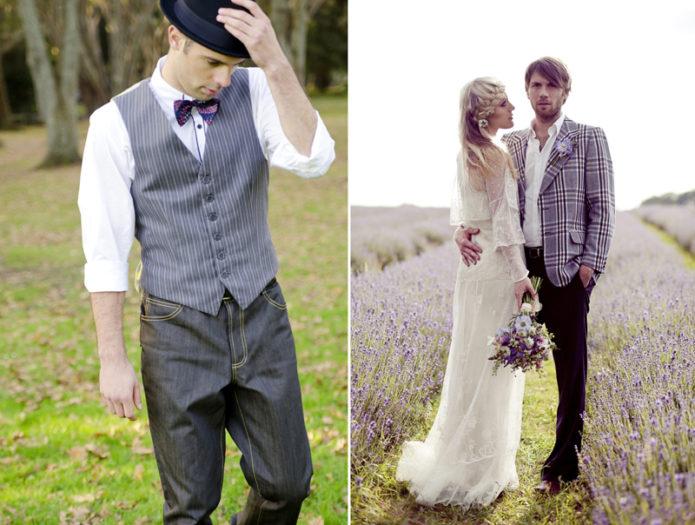 Свадебные наряды жениха и невесты в стиле бохо