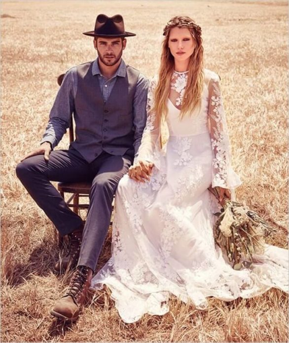 Жених и невеста в одежде бохо