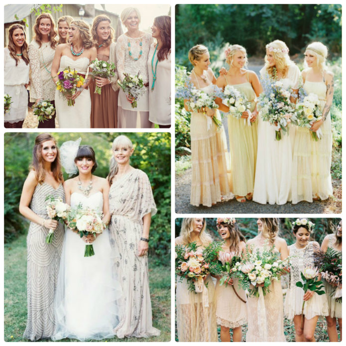 Подружки невесты на свадьбе бохо