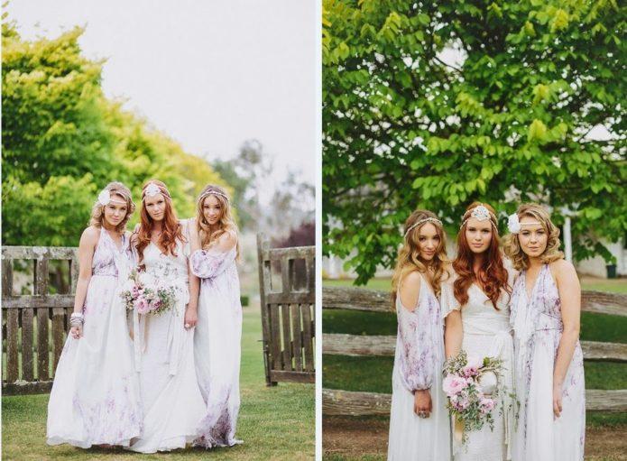 Подружки невесты на свадьбе в стиле бохо