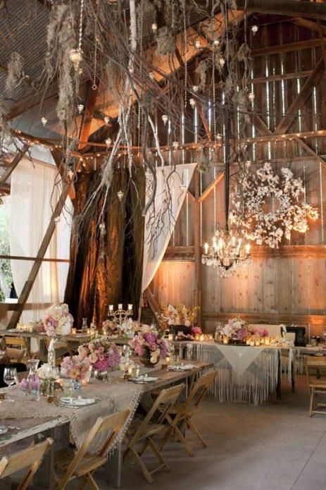 Оформление помещение для свадебного торжества в рустикальном стиле
