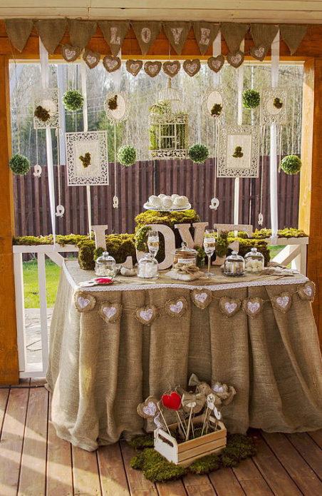 Офомление стола для свадьбы в стиле Рустик