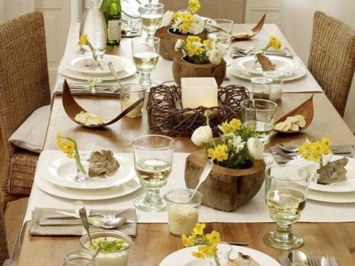 Сервировка свадебного стола в стиле Рустик
