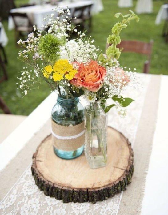 Свадебный декор из цветов в рустикальрном стиле