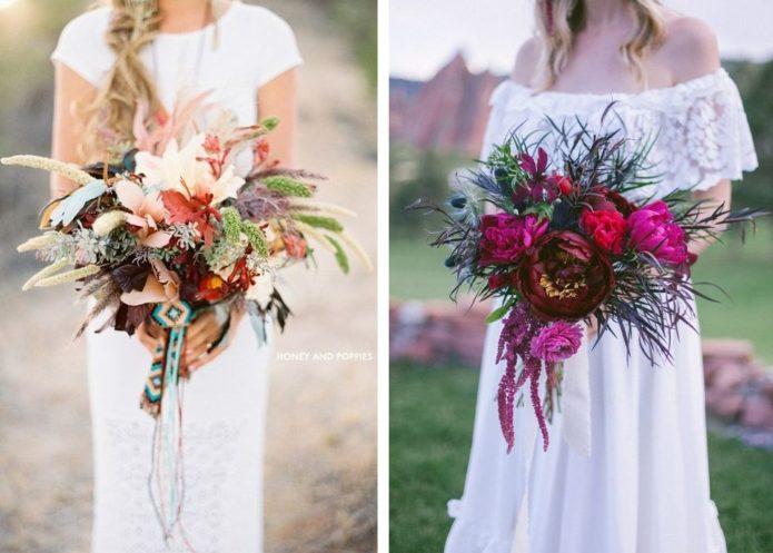 Букеты невесты в стиле бохо