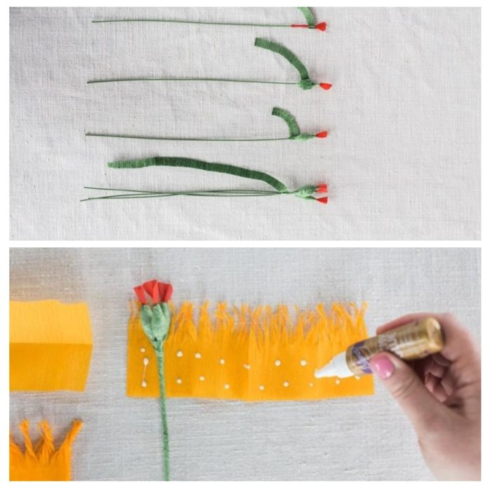 Сборка цветка из гофрированной бумаги