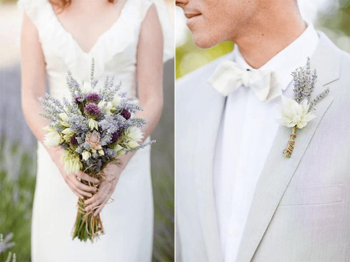 Наряды жениха и невесты с букетом в стиле Прованс