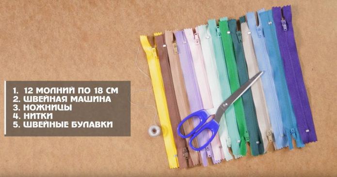 Молнии, ножницы и швейные нитки