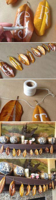 Гирлянда из осенних листьев с текстом