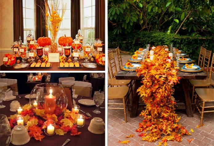 Декор из осенних листьев для праздничного стола