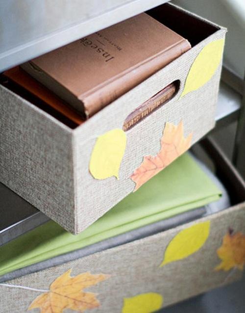 Декор ящиков для хранения осенними листьями