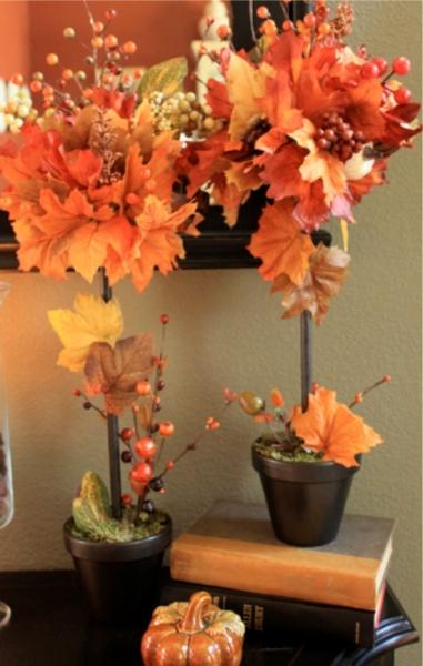 Топиарии из осенних листьев