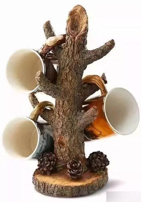 Оригинальная подставка для чайных кружек из дерева