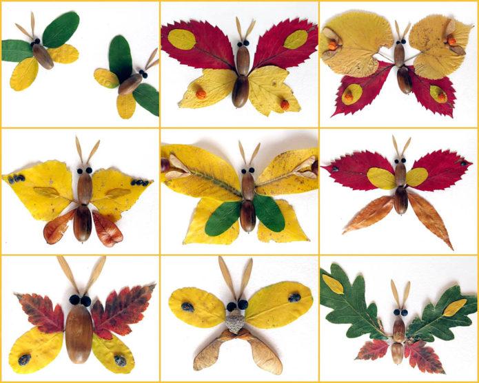 Аппликация с бабочками из осенних листьев