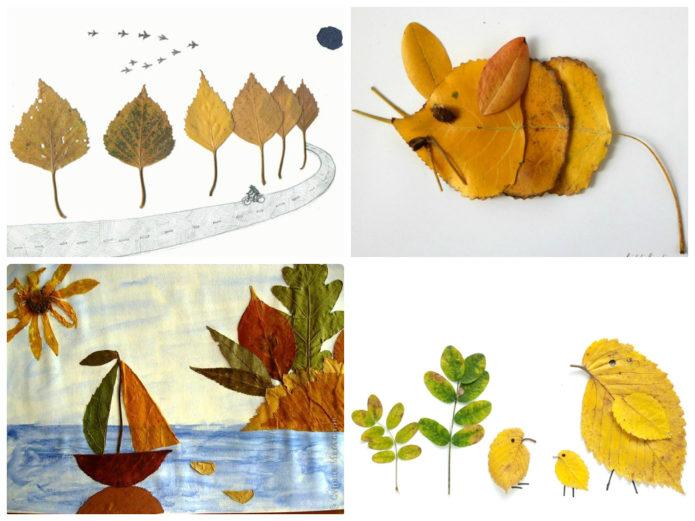 Варианты аппликаций из осенних листьев для детей